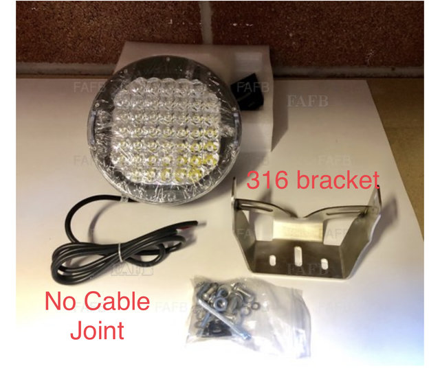 Aaa 225W CREE LED SPOT LIGHT 12-24V. with 316 stainless brackets - picture 1